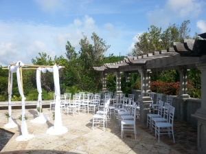The set up for a beautiful wedding poolside at a villa