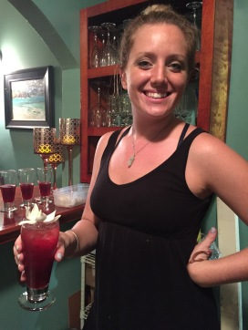 "Jackie Driscoll with her ""Love on the Rox"" cocktail"