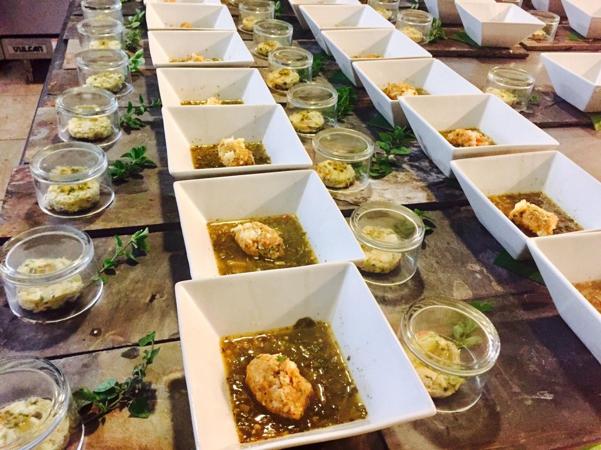 Salt fish with a smoky essence, lobster dumpling in kallalo