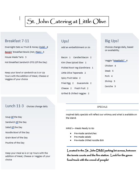 Lo printed menu