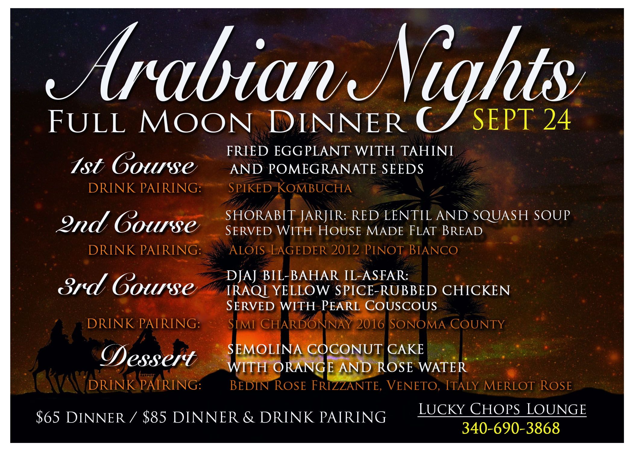Arabian menu + drinks