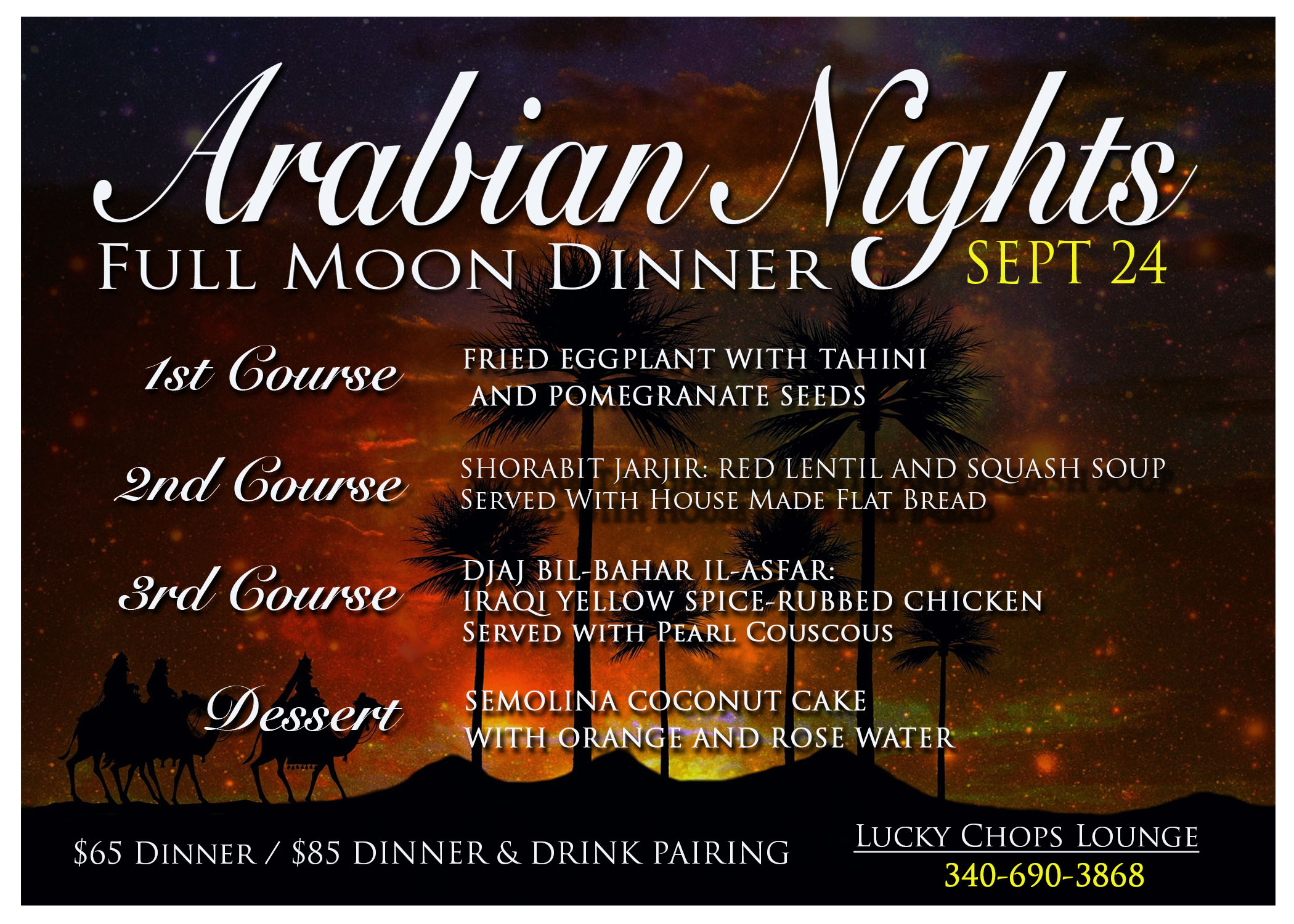 Arabian Nights menu